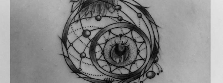 Художественная татуировка «Ловец Снов». Мастер Катя Луч.