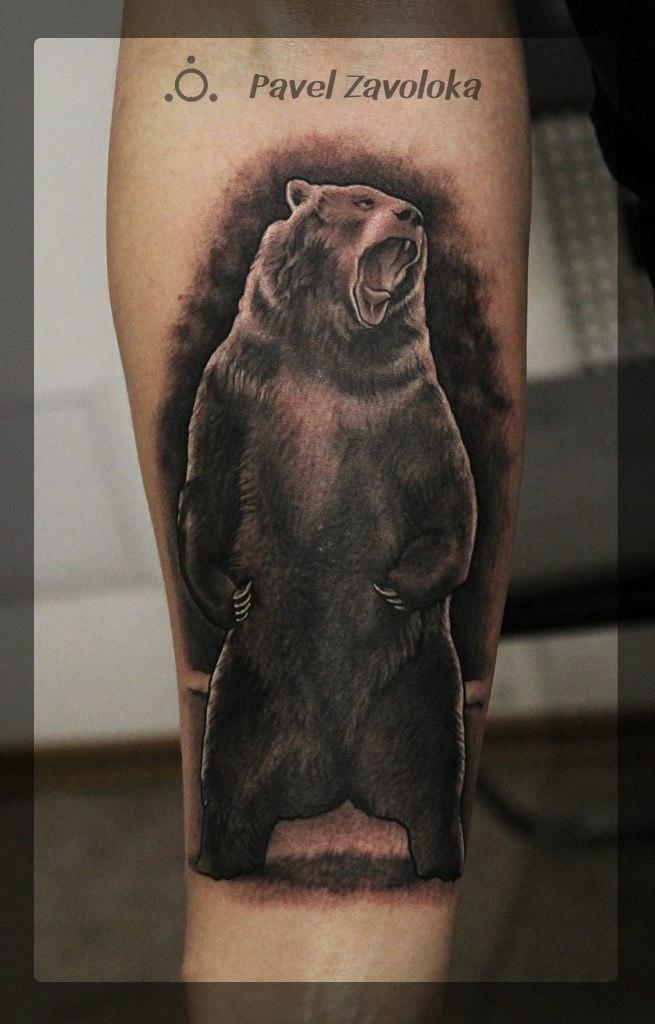 Художественная татуировка «Медведь». Мастер Павел Заволока.