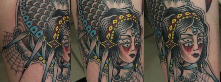 Художественная татуировка «Госпожа паучиха». Данила-мастер.