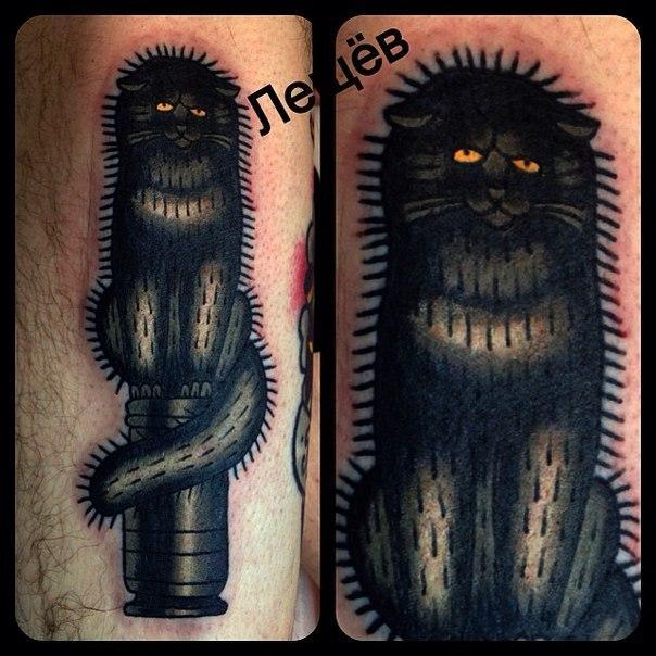 Татуировка «Кот Баюн». Мастер Егор Лещев.
