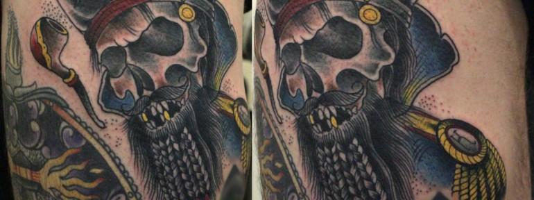 Художественная татуировка «Черная борода» от Данилы-Мастера.