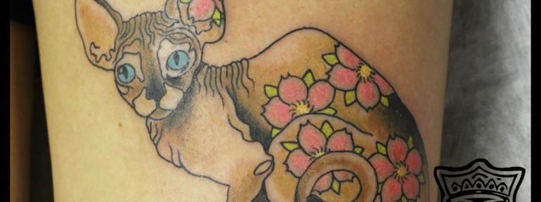 Художественная татуировка «Кошка». Мастер Андрей Бойцев.