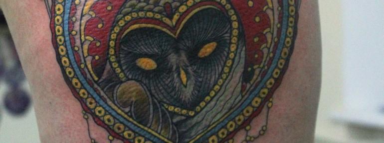 Художественная татуировка «Совушка» от Данилы-Мастера.