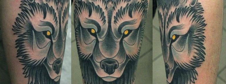 Художественная татуировка Волк от Данилы-Мастера