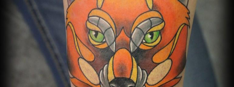 Художественная татуировка «Лис» от Евгения Химика.