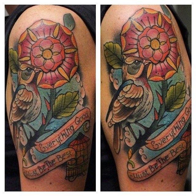 Художественная татуировка «Соловей» от мастера Александра Соды