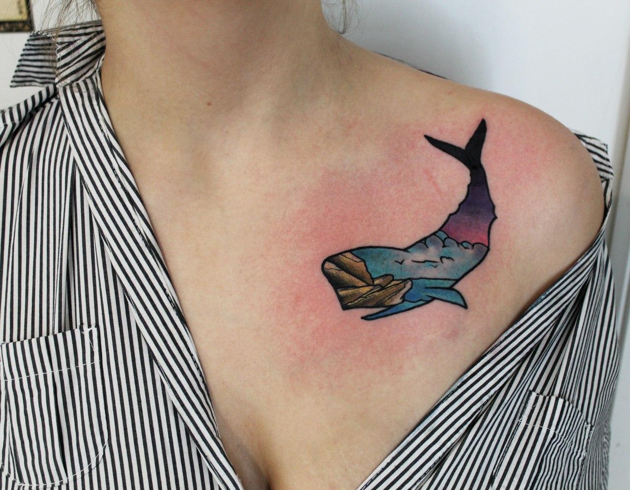 кит картинка тату