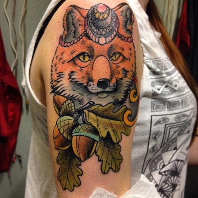 Художественная татуировка «Лиса» от Александра Соды