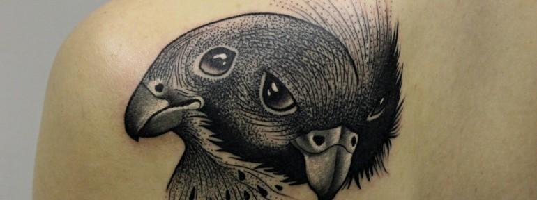 Художественная татуировка «Соколы» от мастера Алисы Cheked.