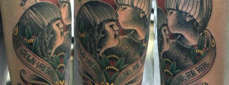 Художественная татуировка «I love you» в исполнении Данилы-Мастера