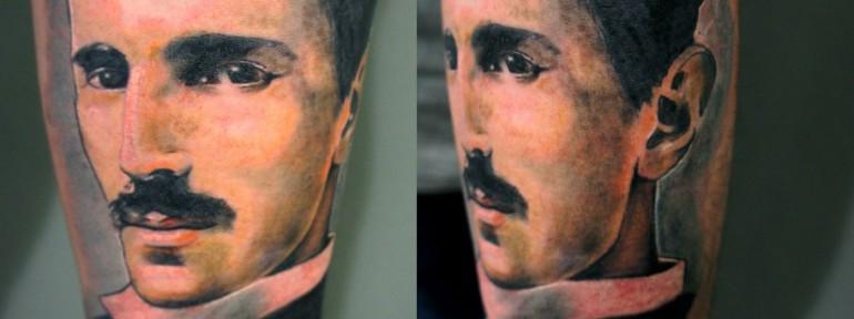 Художественная татуировка «Никола Тесла» от Александра Морозова