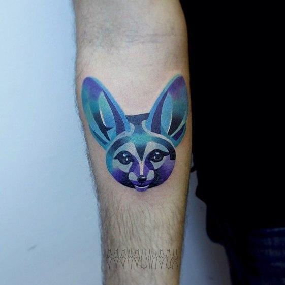 Художественная татуировка «Лисичка» от мастера Саши Unisex.