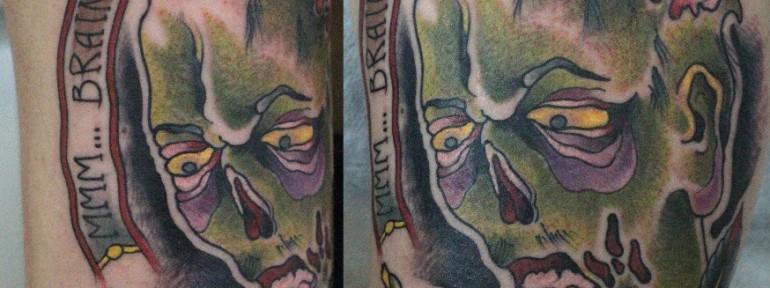Художественная татуировка «Зомби» от Данилы-Мастера.