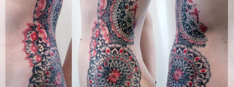 Художественная татуировка «Мандала». Мастер Катя Луч.