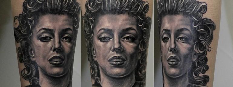 Портрет «Мэрилин Монро» от мастера художественной татуировки Валеры Моргунова.