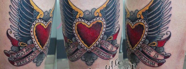 Художественная татуировка «сердце с крыльями» от Данилы-Мастера.