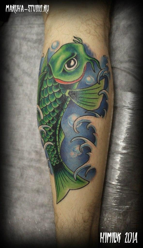 Художественная татуировка «Ньюскульный карп» от Евгения Химика.
