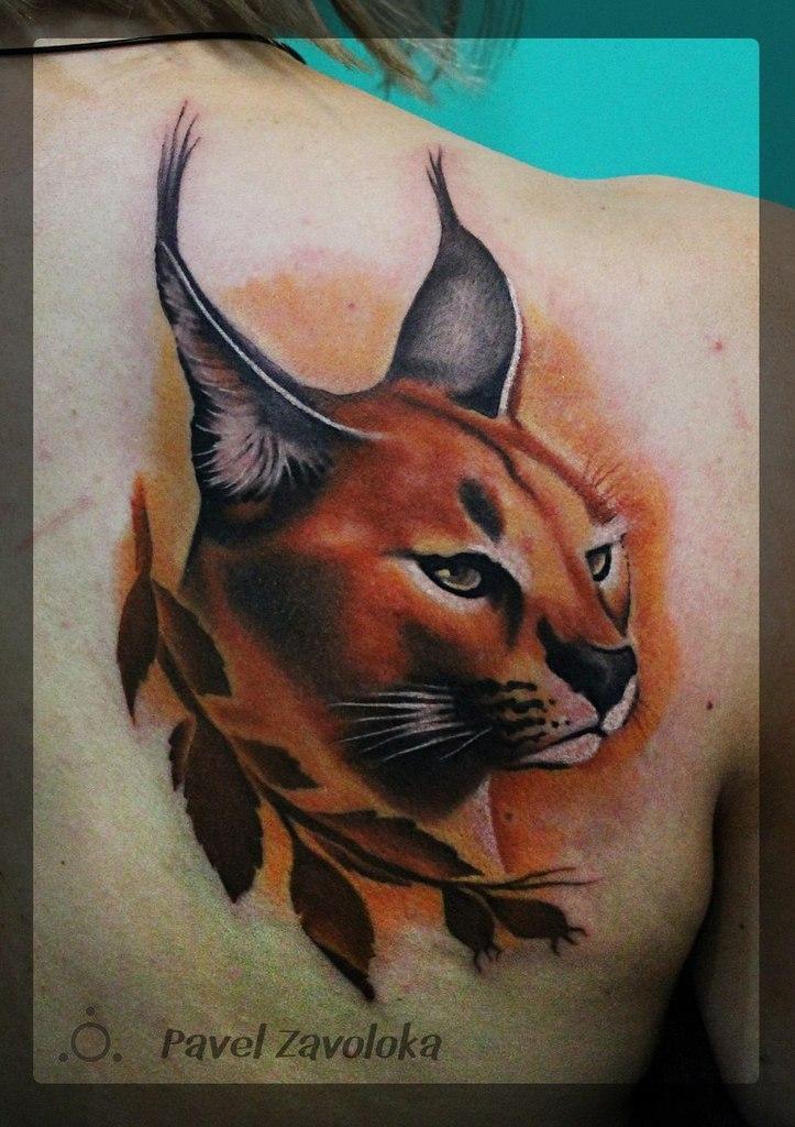 Художественная татуировка «Рысь». Мастер Павел Заволока.