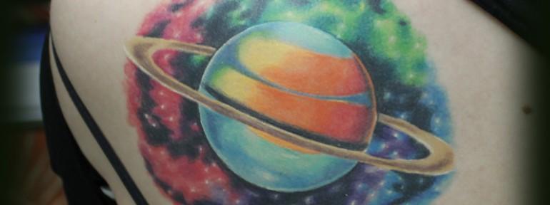 Художественная татуировка «Космос» от Евгения Химика.