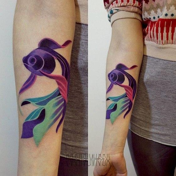 Художественная татуировка «Рыбка». Мастер Саша Унисекс.