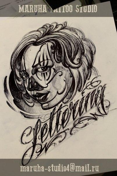 Свободный скетч «Девушка в стиле Chicano» от мастера художественной татуировки Валеры Моргунова.