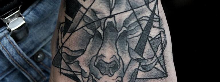 Художественная татуировка «Кошачий череп» от Валеры Моргунова.