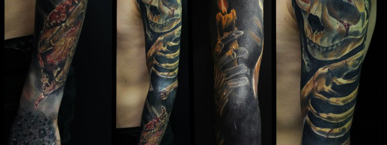 Художественная татуировка-рукав «Скелет, кровь и horror». Мастер Сергей Хоррор.