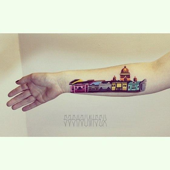 Художественная татуировка «Санкт-Петербург». Мастер Саша Unisex.