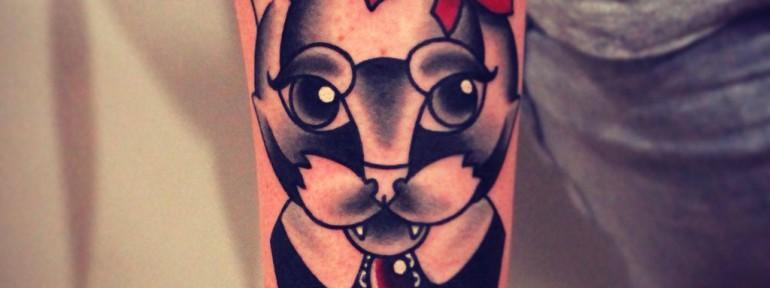 Художественная татуировка «Кошечка». Мастер Денис Марахин.