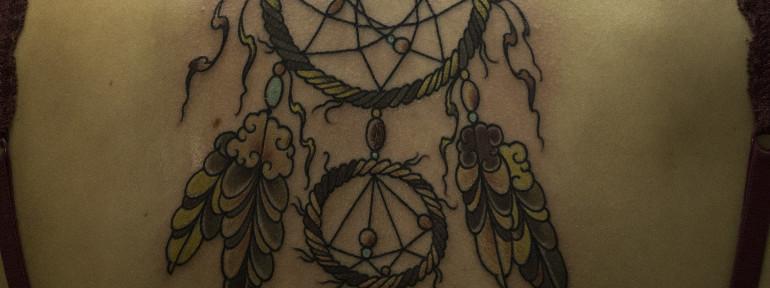 Художественная татуировка «Ловец снов». Мастер Валера Моргунов.