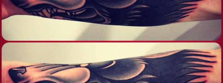 Художественная татуировка «Волк». Мастер Денис Марахин.