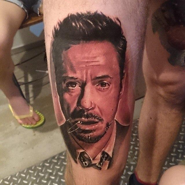 Художественная татуировка «Роберт Дауни младший» от Александра Морозова