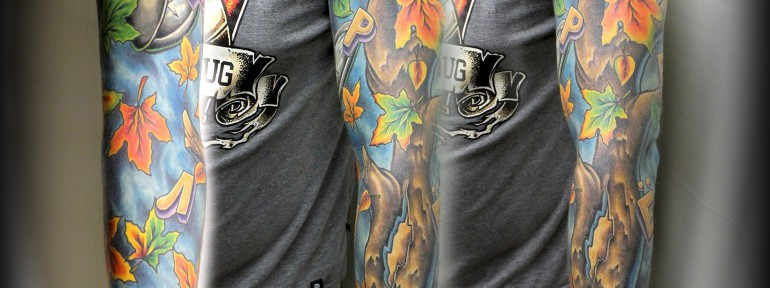 Рукав «Перелёт» от мастера художественной татуировки Евгения Химика.