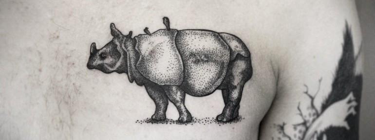 Художественная татуировка «Носорог» от Инессы Фиолетовый Кефир