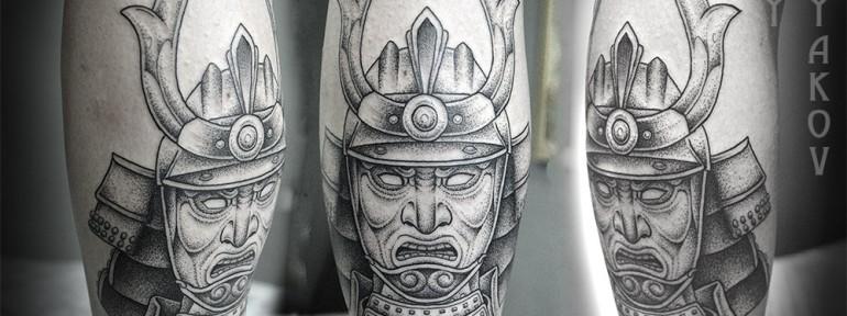 Художественная татуировка «Маска самурая» от Юрия Полякова