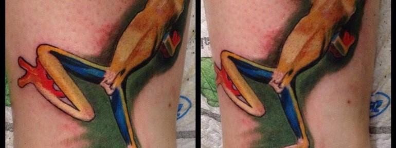 Художественная татуировка «Лягушонок» от Александра Морозова
