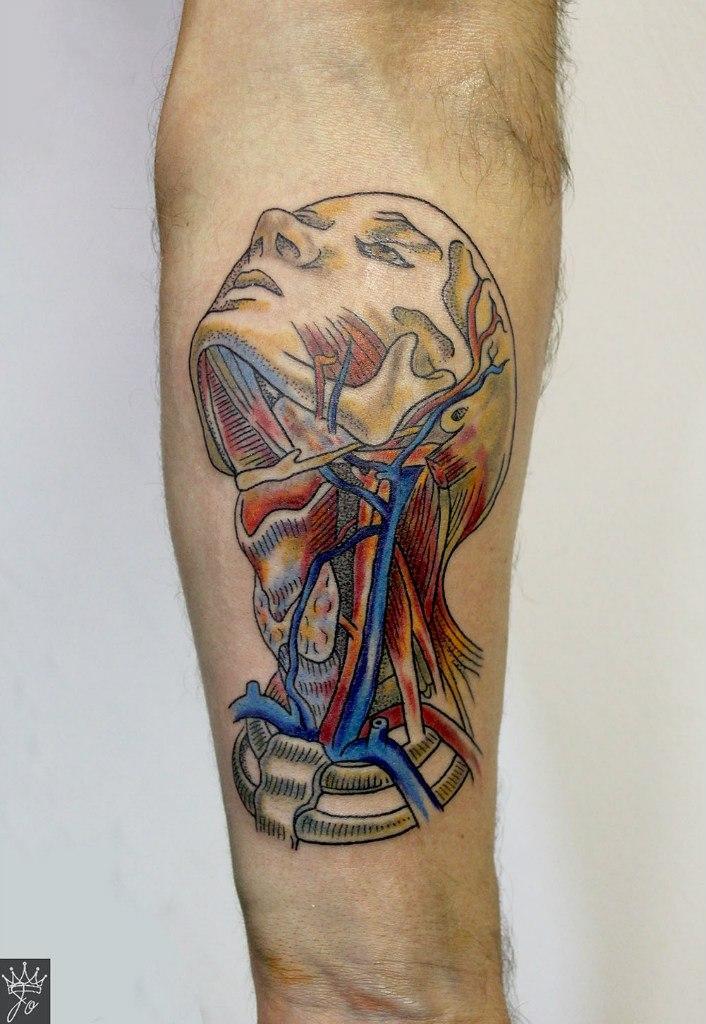 Художественная татуировка «Анатомическая голова». Мастер Ксения Jokris Соколова.