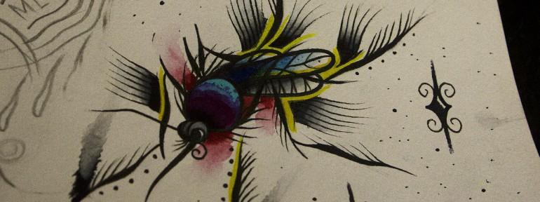Свободный эскиз «Комар» от мастера художественной татуировки Вовы Snoop'a.