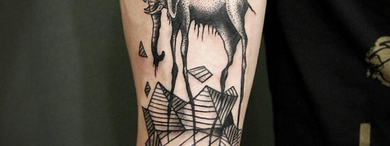 Художественная татуировка «Слон» от Инессы Кефир