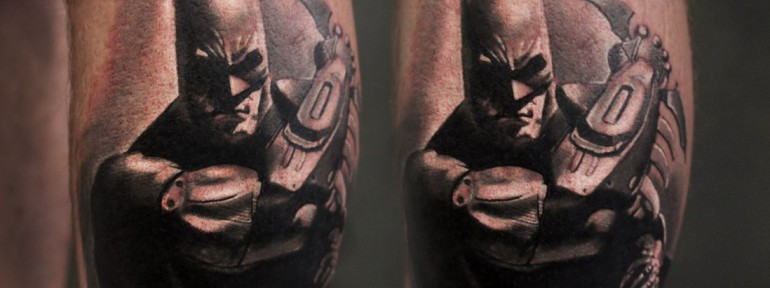 Художественная татуировка «Бэтмен» от Александра Морозова