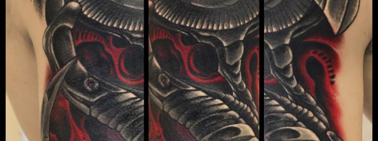 Художественная татуировка «Биомеханика». Мастер Андрей Бойцев.