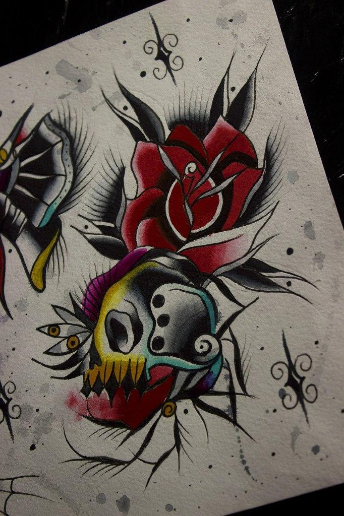 Свободный эскиз «Череп с розой» от мастера художественной татуировки Вовы Snoop'a.