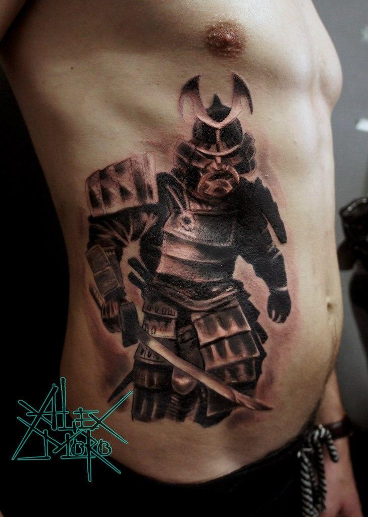 Художественная татуировка «Самурай» от Александра Морозова