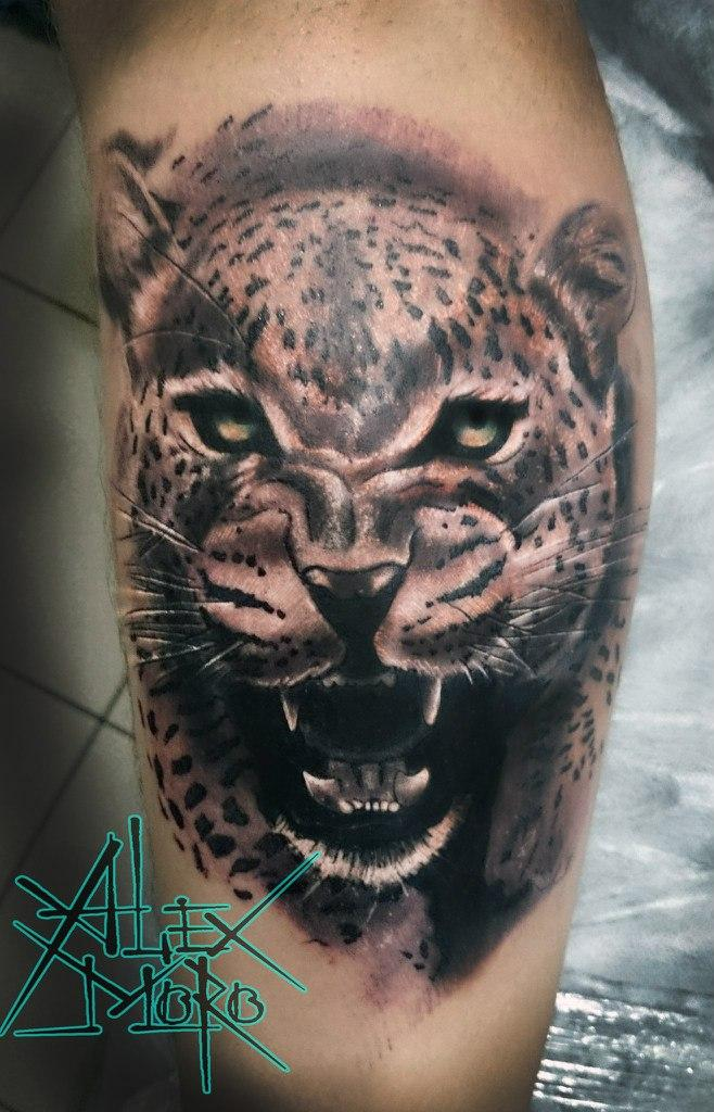Художественная татуировка «Леопард» от Александра Морозова