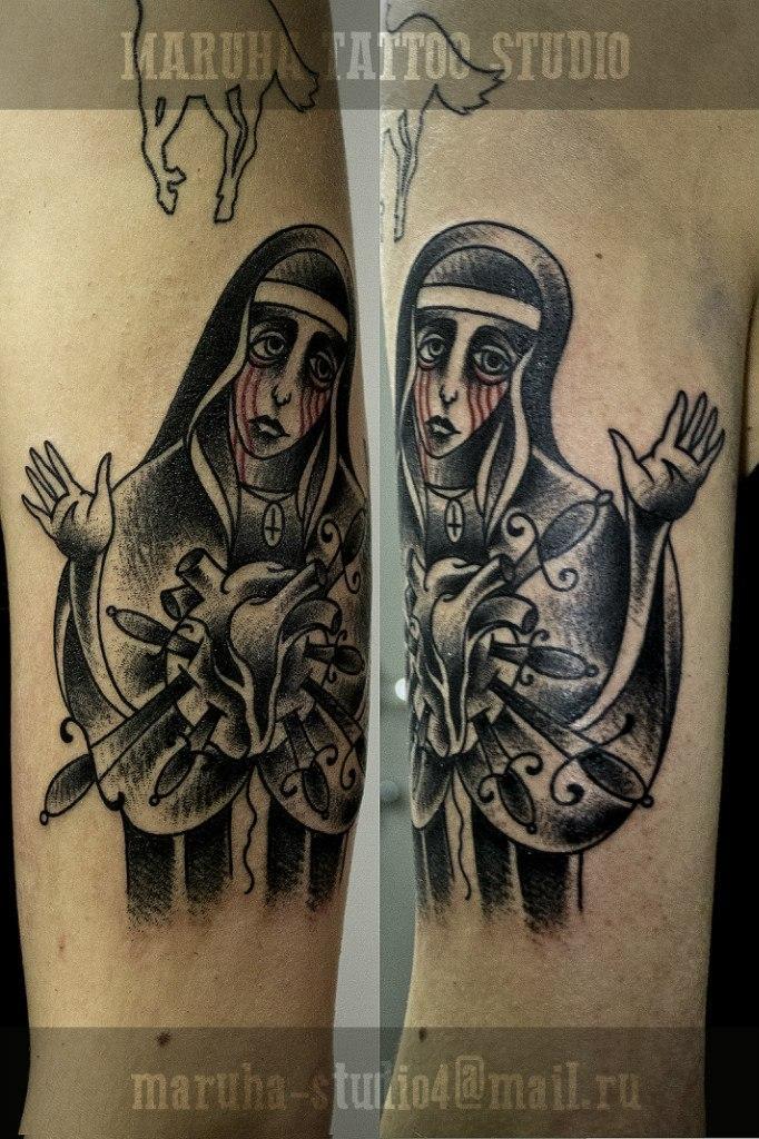 Художественная татуировка «Монашка».Мастер Валера Моргунов