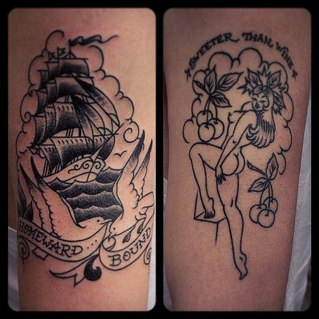 Художественная татуировка «Корабль» от Валеры Моргунова. Справа зажившая работа
