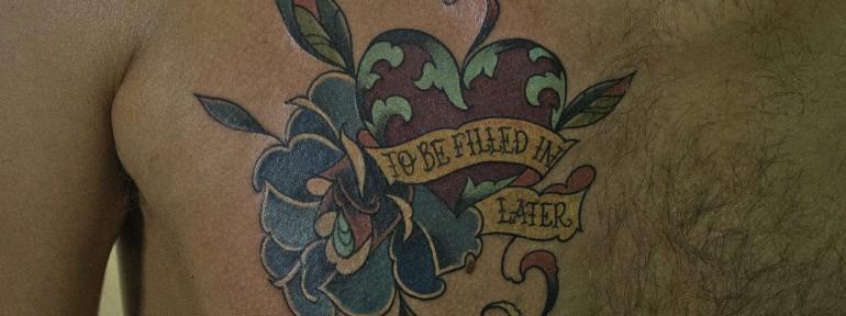 Художественная татуировка «Сердце с розой». Мастер Валера Моргунов.