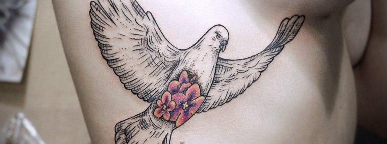 Художественная татуировка «Голубь». Мастер Инесса.