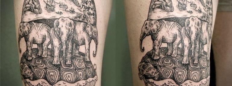Художественная татуировка «Плоский мир». Мастер  Инесса.