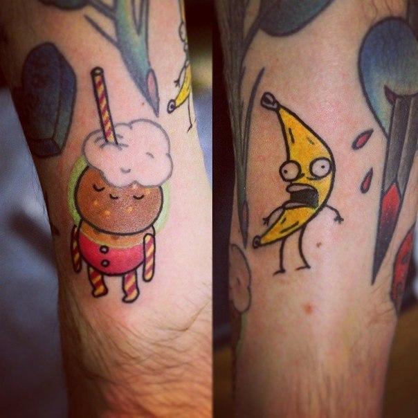 Художественная татуировка «Молочный коктейль и банан». Начинающий мастер Настя Стриж.
